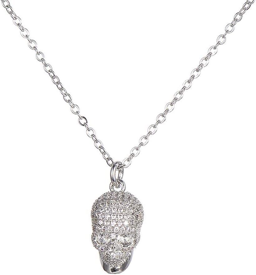 AdorabFruit Présent Pendentif Piedras de circonio cúbico Blanco pavimentado cráneo Cabeza Colgante Collar for Hombres Mujeres Cadena de Cobre Hombres Colgante joyería (Metal Color : Silver)