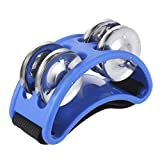 Foot Tambourine Percussion Player's 2 Sets Metal Jingle Bell with guitar ukulele Accessory Jingle Bell High Quality (blue)