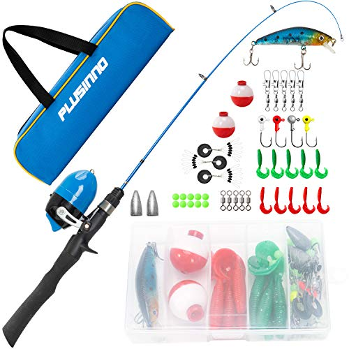 Kids Fishing Pole with Travel Bag, Telescopic Fishing Rod and Reel Combos with Spincast Fishing Reel Full Kits for Kids