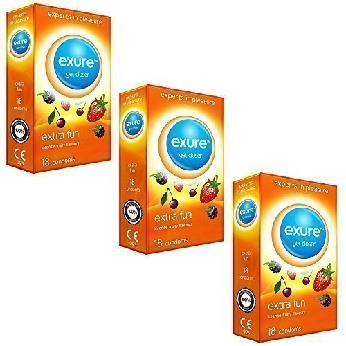 Exure 3 packs of 18 Fruity Flavoured condoms (54) - 100% electronically...