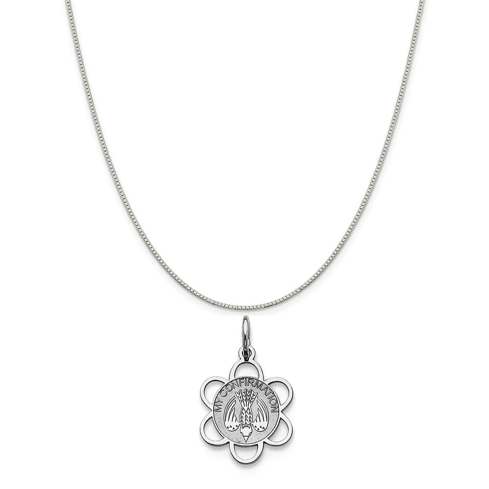 16-20 Mireval Sterling Silver My Confirmation Disc Charm on a Sterling Silver Chain Necklace