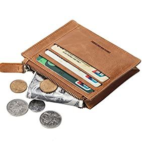 Mens Genuine Leather Retro Wallet Front Pocket Slim Card Case Coin Holder with zipper