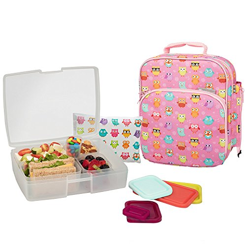 Bentology Lunch Bag and Box Set for Girls - Includes Insulated Bag with Handle, Bento Box, 5 Containers and Ice Pack - Owl by Bentology