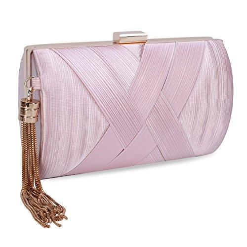 Clutch Bridal Bags Clutch Pink Fabric Pendant Bag Elegant Evening Purse Tassel Satin Women's CaXwvqq