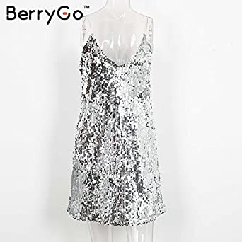 private-space-Aurelie Sexy Silver Women v Neck Sleeveless Short Elegant Evening Party Dresses Casual Summer at Amazon Womens Clothing store: