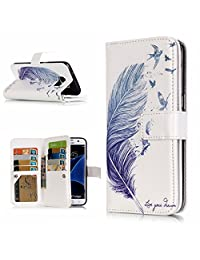 Qissy®Leather Flower Pattern protective Case cover skin for SAMSUNG GALAXY S7 EDGE