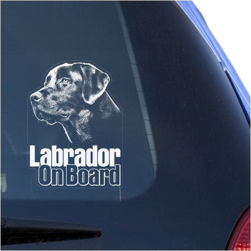 Lab Labrador Retriever Clear Vinyl Decal Sticker for Window, Black Labs Dog Sign Art (4' Labrador Retriever)