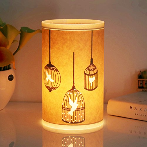 Table Lamp, HQOON Beside Desk Lamp, Minimalist Nightstand Lamps for Bedroom, Beautiful Hand Carved Hollow Patterns, Warm Night Lighting for Relaxing or Sleeping, Ideal Gift for Kids, Family or Friend Ideal Christmas Gifts For Couples