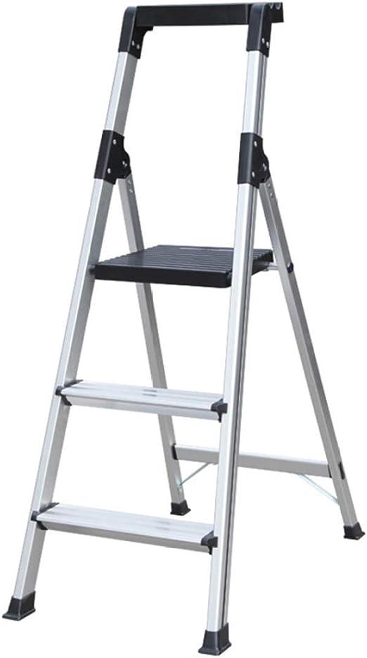 JLDN Escalerilla, 3 Peldaños Escalera Plegable aleación de Escalera de Aluminio Stepladder con Apoyabrazos Resistente y Ancha Antideslizantes del hogar,Silver: Amazon.es: Hogar