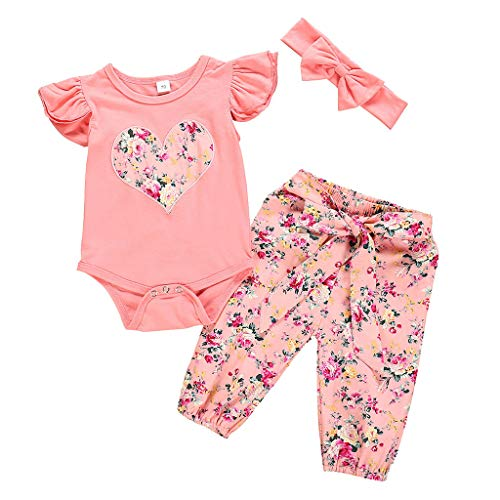 MALLOOM 3PCS Infant Girls Fly Sleeve Ruffles Love Bodysuit Romper+Floral Pants Outfits Pink