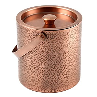 Cambridge Silversmiths Kerry Copper Etched Ice Bucket, 3 quart, Stainless Steel