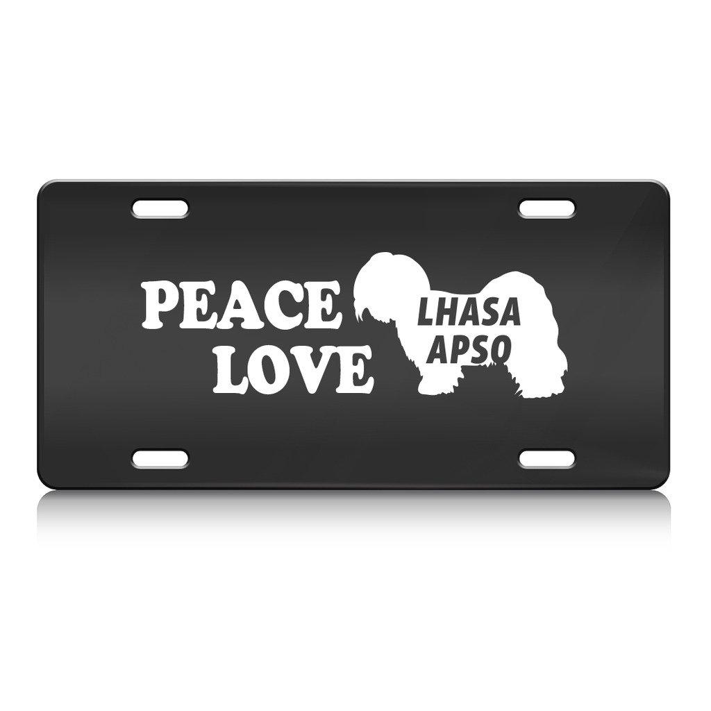 Peace Love Lhasa Apso Hund Metall Nummernschild BL.: Amazon.de: Auto