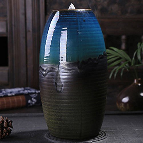 Tongyou Ceramic Waterfall Backflow Incense Burner Incenser Holder Home Decor Aromatherapy Ornament+ 10 Cone Incense Free
