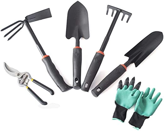 Juego de herramientas de jardín de 6 piezas, juego completo de herramientas de jardinería fáciles de
