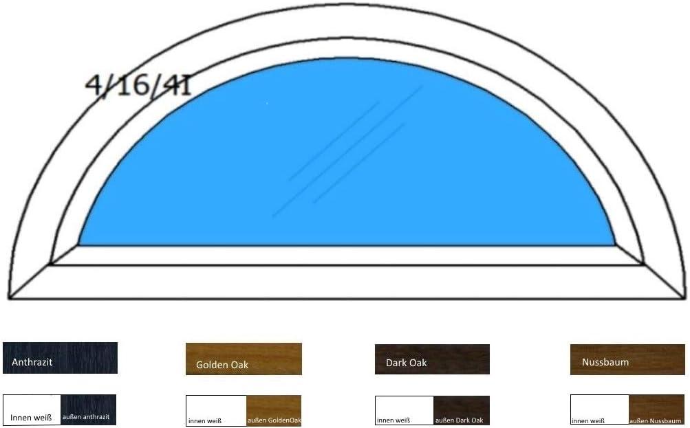 Halbrundbogenfenster Bogenfenster Kunststofffenster Fenster Dachfenster Farbe: innen wei/ß//au/ßen wei/ß Klarglas 2-Fach Verglasung BxH: 1000 x 500 mm