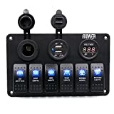 Qisc 6 Gang Waterproof Car Auto Boat Marine LED Rocker Switch Panel Circuit Breakers
