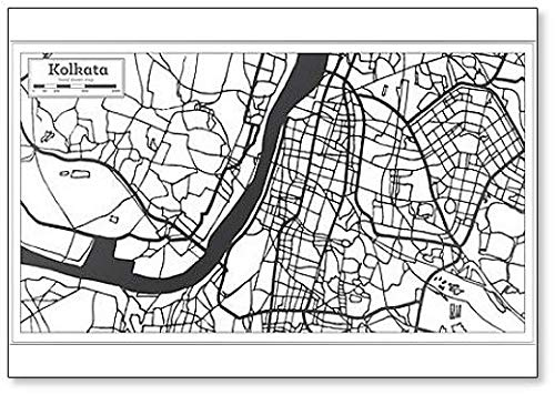 Kolkata India City Map in Retro Style. Outline Map Classic Fridge Magnet