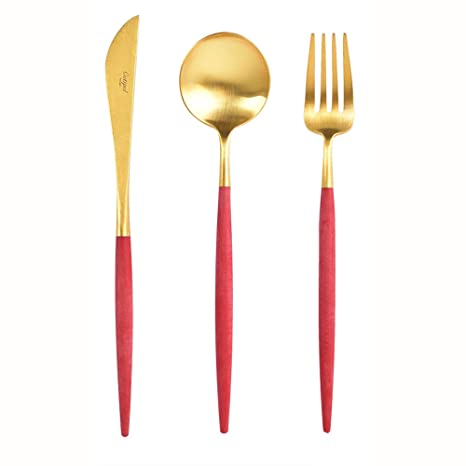 Amazon.com: cutipol Goa rojo/gold Series Home Dinner ...
