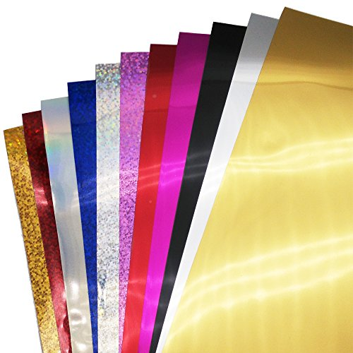 NEW Sequin Heat Transfer Vinyl (5 Sheets) and Glitter Heat Transfer Vinyl (6 Sheets) for T-shirts, Garments, Bags and Other Fabrics Application (12' x 10')
