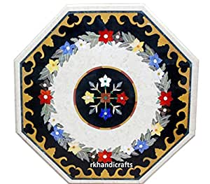 "30""White Marble Patio Table Top Octagon Shape Multi Color Stones Inlay Floral Design"
