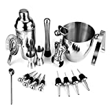 Bar Set, 17 Pieces Bartender Kit Cocktail Bar Set Stainless Steel Cocktail Set includes 24oz Martini Cocktail Shaker, 50oz Ice Bucket, Double Size Jiggers and other Essential Bartending Bar Tools