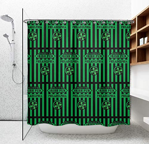 Modern Shower Curtain, Home Spa Art Print Waterproof Bathroom Curtains, Eco-Friendly It's Always Sunny In Philadelphia Paddy's Irish Pub Curtain with Reinforced Grommets and 12 Hooks, 72 X 70 Inch