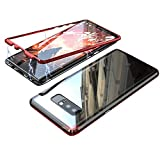 HONTECH Compatible Galaxy Note 8 Case, Slim Magnetic Adsorption Metal Frame with Built-in Magnet Flip Tempered Glass Cover, Black-red
