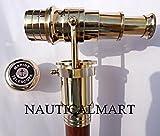 38 Inch Handmade Nautical Walking Stick with Solid Brass Telescope