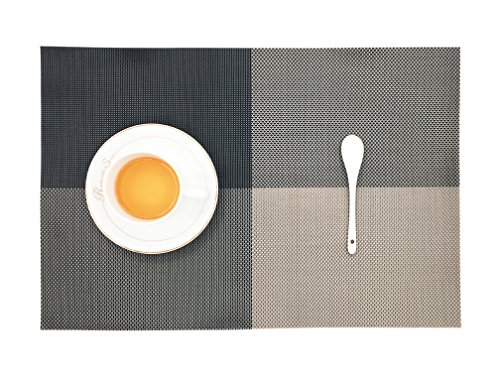 OneBelief Placemats (4-Pack),Non-Slip PVC Woven Washable Table Mats Dinner Sets, 4530cm/17.711.8inches (Black Stripe Dinner Plates)