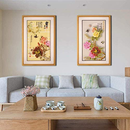 KEWEI Wall Lights Wall Lamp wall lamp led mural lamp decorative painting ultra-thin aisle living room bedroom bedside rectangular wall lamp with picture, medium [流水 生财 A]