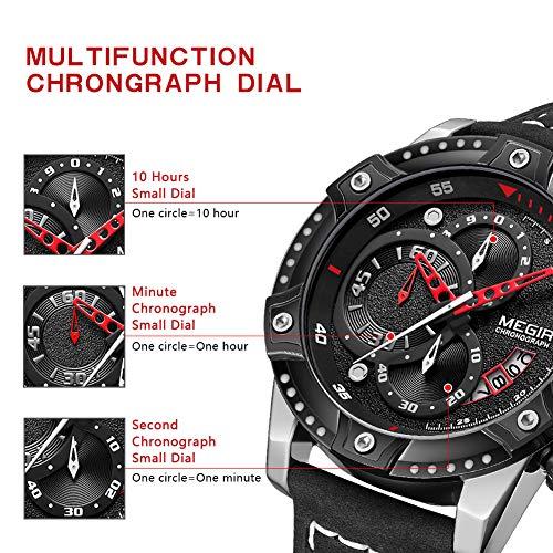 MEGIR Men's Analog Business Quartz Chronograph Watch with Fashion Big Face Leather Strap for Sports 2130
