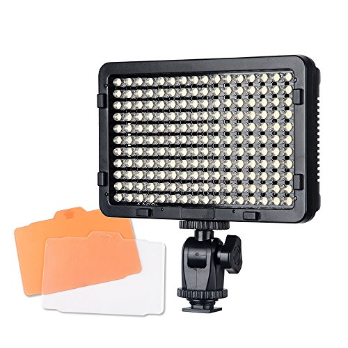 Pergear PT-176S 176 Led Video Light Panel Ultra-Compact High Power Dimmable Digital Camera Camcorder Video Light with 2 Filters for Studio Lighting