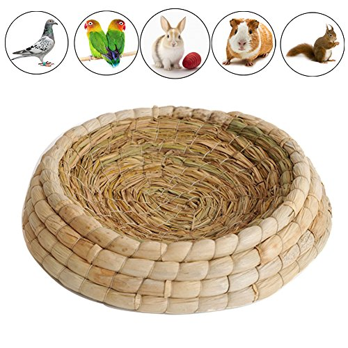 Gladot Handwoven Pigeon Nesting Bowls Bird Nests Corn Leaves and Straw Incubation Bed Courtship Breeding House for Pigeon/Dove/Dwarf Rabbit/Bunny/Chinchillas/Parakeet