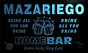 q29029-b MAZARIEGO Family Name Home Bar Beer Mug Cheers Neon Light Sign