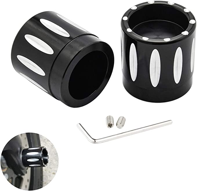 PBYMT Chrome Front Axle Nut Cover Caps Compatible for Harley Softail Sportster Touring Road King Electra Street Glide 2008-2020