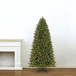 Evergreen Classics Vermont Spruce 7.5 ft Color Changing Pre-Lit Artificial Christmas Tree w/600 LED Lights & Folding Metal Stand