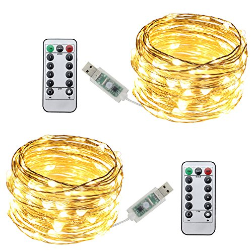 ER CHEN Remote USB Led String Lights, 100 LEDs 33Ft 8 Lighting Mode Waterproof Silver Wire String Lights for Bedroom, Patio, Party, Wedding, Christmas Decorative Lights(Warm White,2-Pack)