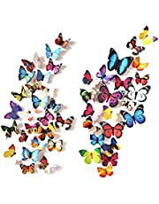 eoorau 60PCS Butterfly Wall Decals Wall-3D Butterflies Wall Decor Removable Mural Stickers Home Decoration Kids Room Bedroom Decor (5Colors) ¡­