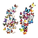 kids bedroom sticker wall murals eoorau 80PCS Butterfly Wall Decals - 3D Butterflies Decor for Wall Removable Mural Stickers Home Decoration Kids Room Bedroom Decor
