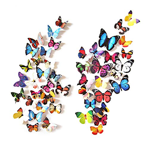 Wall Butterfly Murals - eoorau 80PCS Butterfly Wall Decals - 3D Butterflies Decor for Wall Removable Mural Stickers Home Decoration Kids Room Bedroom Decor