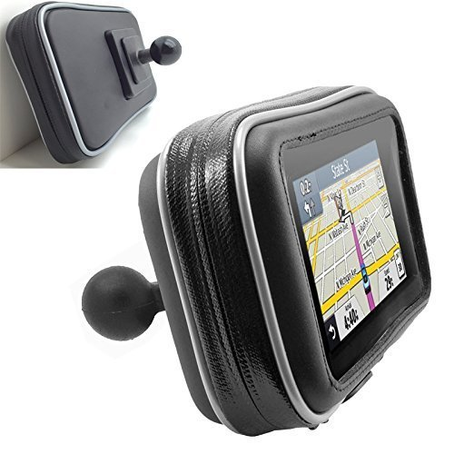 ChargerCity XXL Water Resistant 5'' GPS Case for Garmin Nuvi Drive DriveSmart 50 51 52 54 55 56 57 58 2597 2595 2599 LM LMT TomTom XL 3xx XXL 5xx GO VIA Start GPS w/ 1'' male ball connection by ChargerCity