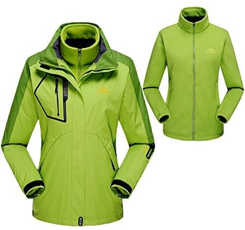 TBMPOY Women's 3-In-1 Winter Jacket Outdoor Waterproof Softshell Rain Jacket(Green,us M)