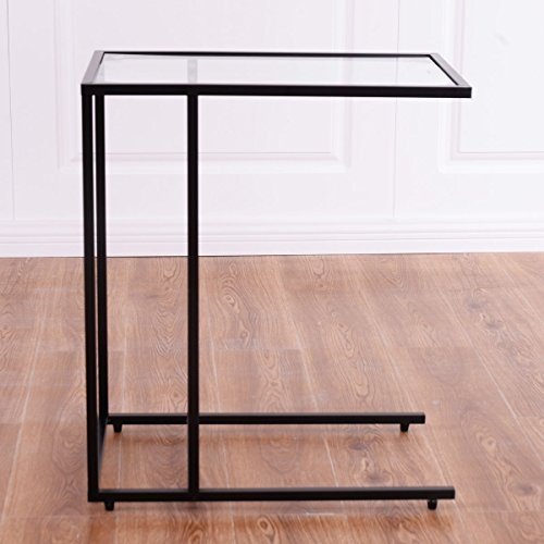Amazon.com: TANGKULA Snack Table with Glass Top, Sofa Side Ende ...