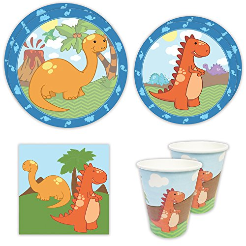Little Dinosaur Standard Party Packs (65+ Pieces for 16 Guests!), 1st Birthday Tableware, Dinosaur Party Supplies, Dinosaur Baby Shower Decorations