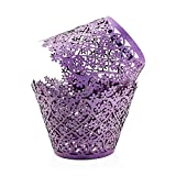 PAMISO Cupcake Holders (100pcs) Filigree Artistic Bake Cake Paper Cups Decor Wrapper Wraps Cupcake Muffin Paper Holders for Wedding Party Birthday(Snowflake) (Purple)