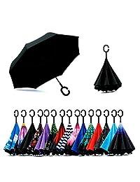 Spar.Saa Paraguas invertido de doble capa, con mango, anti-UV, impermeable, resistente al viento, recto
