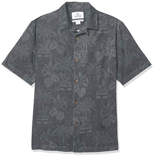 28 Palms Men's Relaxed-Fit 100% Textured Silk Tropical Leaves Jacquard Shirt, Black, Large