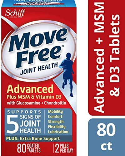 Move Free Advanced Plus MSM & D3 Joint Health Supplement with Glucosamine & Chondroitin, Supports Mobility, Comfort, Strength, Flexibility & Joint Lubrication, 80 Count