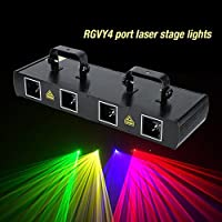 GOTOTOP Stage Lights-100 Multi-Patterns Stage Light 7CH DMX512 Sound Actived Disco DJ Party LED Effect Lights 4Lens with 4 Remote Control Mode (#2)