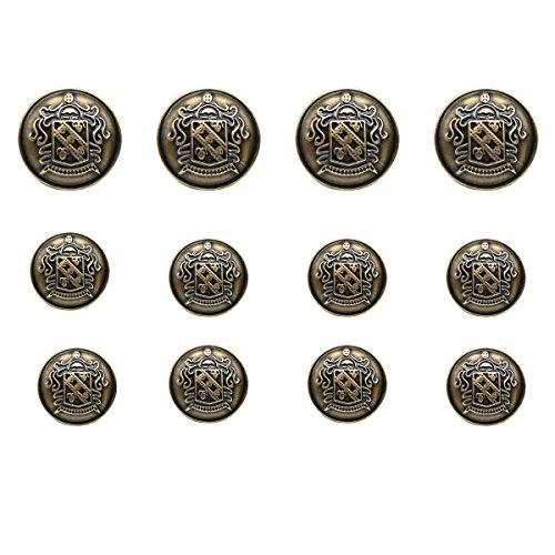 12 Pieces Antique Shield Metal B...